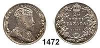 AUSLÄNDISCHE MÜNZEN,Kanada Edward VII. 1901 - 1910 25 Cents 1910.  Schön 12.  KM 11 a.