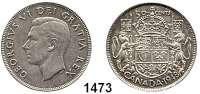 AUSLÄNDISCHE MÜNZEN,Kanada Georg VI. 1936 - 1952 50 Cents 1948.  Schön 44.  KM 45.