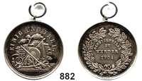 M E D A I L L E N,Schützen Werder Silbermedaille mit Öse und Ring o.J. (um 1900).  Schützensymbole. /  Text im Kranz :
