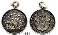M E D A I L L E N,Schützen Spandau Silbermedaille mit Öse und Ring 1905.  Schützenmotive. / Wappen, Umschrift : Schützengilde zu Spandau und Gravur : IV. Ritter 23.6.05.  36,4 mm.  15,87 g.