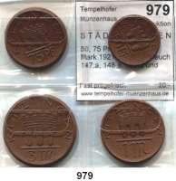 P O R Z E L L A N M Ü N Z E N,S T Ä D T E M Ü N Z E N Kitzingen 50, 75 Pfennig; 1 und 3 Mark 1921 braun.  Scheuch 147.a, 148.a, 150.a und 152.a.  Menzel 13187.2,4,7,9.  SATZ 4 Stück.