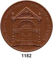 MEDAILLEN AUS PORZELLAN,Moderne Medaillen - Staatliche Porzellanmanufaktur MEISSEN Freiberg Braune Medaille 1985 (103 mm).  Firma Vinzenz Perner - 800 Jahre Bergstadt.  W. 8208.