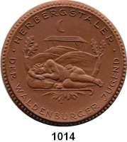 P O R Z E L L A N M Ü N Z E N,Spendenmünzen mit Talerbezeichnung Waldenburg Herbergstaler o.J.(1922) braun.  Jugend - Herberge.