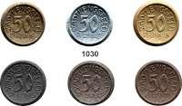 P O R Z E L L A N M Ü N Z E N,Münzen von anderen Deutschen Keramischen Fabriken Stadtlengsfeld 50 Pfennig o.J.(1921) braun(3 Farbvarianten), grau(2 Farbvarianten) und graublau.  Menzel 23895.  LOT 6 Stück