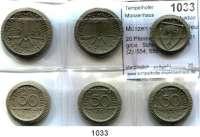 P O R Z E L L A N M Ü N Z E N,Münzen von anderen Deutschen Keramischen Fabriken Waldenburg 20 Pfennig bis 1 Mark 1921 grün.  Scheuch  552, 553(2), 554, 555 und 556.   Menzel 25902.  LOT 6 Stück