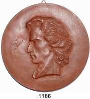 MEDAILLEN AUS PORZELLAN,Moderne Medaillen - Staatliche Porzellanmanufaktur MEISSEN Meissen Braune Medaille 1962 (182 mm).  Neuprägung der Medaille von 1953.  Friedrich von Schiller.  W. 4324.
