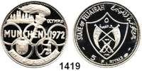 AUSLÄNDISCHE MÜNZEN,Fudschairah Muhammad bin Hamad al-Sharqi 1952 - 1974 5 Riyals 1970.  Olympische Sommerspiele München 1972.  Schön 7.  KM 3.  In Originalklapptasche.