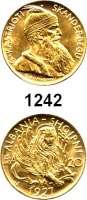 AUSLÄNDISCHE MÜNZEN,Albanien Zog I. (1925) 1928 - 1939 20 Francs 1927 V, Wien; (5,8g fein).  Skanderbeg.  Schön 11.  KM 12.  Fb. 6.  GOLD