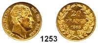 AUSLÄNDISCHE MÜNZEN,Belgien Leopold I. 1831 - 1865 20 Francs 1865.  (5,8g fein).  Schön 23.  KM 23.  Fb. 411.  GOLD