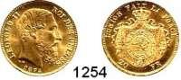 AUSLÄNDISCHE MÜNZEN,Belgien Leopold II. 1865 - 1909 20 Francs 1875.  (5,8g fein).  Schön 40.  KM 37.  Fb. 412.  GOLD