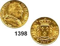 AUSLÄNDISCHE MÜNZEN,Frankreich Ludwig XVIII. 1814 - 1824 20 Francs 1814 A, Paris.  (5,8g fein).  Kahnt/Schön 46.  KM 706.1.  Fb. 525.  GOLD