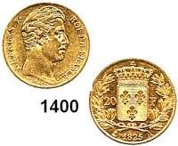 AUSLÄNDISCHE MÜNZEN,Frankreich Karl X. 1824 - 1830 20 Francs 1825 A, Paris.  (5,8g fein).  Kahnt/Schön 62.  KM 726.1.  Fb. 549.  GOLD