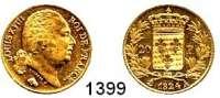 AUSLÄNDISCHE MÜNZEN,Frankreich Ludwig XVIII. 1814 - 1824 20 Francs 1824 A, Paris.  (5,8g fein).  Kahnt/Schön 55.  KM 712.1.  Fb. 538.  GOLD