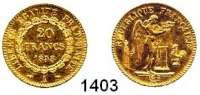 AUSLÄNDISCHE MÜNZEN,Frankreich 2. Republik 1848 - 1852 20 Francs 1848 A, Paris.  (5,8g fein).  Kahnt/Schön 86.  KM 757.  Fb. 565.  GOLD