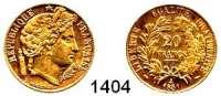 AUSLÄNDISCHE MÜNZEN,Frankreich 2. Republik 1848 - 1852 20 Francs 1851 A, Paris.  (5,8g fein).  Kahnt/Schön 85.  KM 762.  Fb. 566.  GOLD