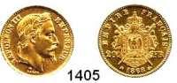 AUSLÄNDISCHE MÜNZEN,Frankreich Napoleon III. 1852 - 1870 20 Francs 1868 BB, Straßburg.  (5,8g fein).  Kahnt/Schön 102.  KM 806.2.  Fb. 585.  GOLD
