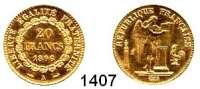 AUSLÄNDISCHE MÜNZEN,Frankreich 3. Republik 1870 - 1940 20 Francs 1896 A, Paris.  (5,8g fein).  Kahnt/Schön 131.  KM 825.  Fb. 592.  GOLD