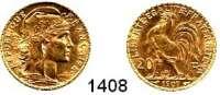 AUSLÄNDISCHE MÜNZEN,Frankreich 3. Republik 1870 - 1940 20 Francs 1907.  (5,8g fein).  Schön 191.  KM 847.  Fb. 596a.  GOLD