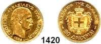 AUSLÄNDISCHE MÜNZEN,Griechenland Georg I. 1863 - 1913 20 Drachmen 1884 A, Paris.  (5,8g fein).  Schön 54.  KM 56.  Fb. 18.  GOLD