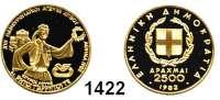 AUSLÄNDISCHE MÜNZEN,Griechenland 3. Republik, seit 1973 2500 Drachmen 1982.  (5,8g fein).  Olympische Spiele - Spiridon Louis.  Schön 133.  KM 141.  Fb. 26.  GOLD