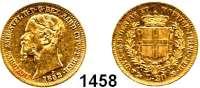 AUSLÄNDISCHE MÜNZEN,Italien Sardinien 20 Lire 1852 P/Anker.  (5,8g fein).  Schön 43.  KM 146.2.  Fb. 1147.  GOLD