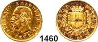 AUSLÄNDISCHE MÜNZEN,Italien Viktor Emanuel II. (1849) 1861 - 1878 20 Lire 1863 T, Turin.  (5,8g fein).  Schön 17.  KM 10.1.  Fb. 11.  GOLD