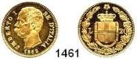 AUSLÄNDISCHE MÜNZEN,Italien Umberto I. 1878 - 1900 20 Lire 1882 R, Rom.  Schön 29.  KM 21.  Fb. 21.  GOLD