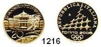 AUSLÄNDISCHE MÜNZEN,E U R O  -  P R Ä G U N G E N Italien 20 Euro 2005 (5,8g fein).  Olympische Winterspiele in Turin - Stilisierter Fackelläufer vor Palast .  Schön 265.  KM 269.  Fb. 1552.  GOLD