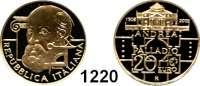 AUSLÄNDISCHE MÜNZEN,E U R O  -  P R Ä G U N G E N Italien 20 Euro 2008.  (5,8g fein).  500. Geburtstag von Andrea Palladio.  Schön 301.  KM 307.  Fb. 1560.  Mit Zertifikat.  .GOLD