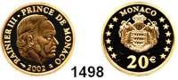 AUSLÄNDISCHE MÜNZEN,Monaco Rainier III. 1949 - 2005 20 Euro 2002 (5,8g fein).  Rainer III..  Schön 55.  KM 177.  Fb. 36.  GOLD