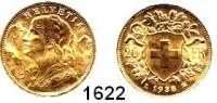 AUSLÄNDISCHE MÜNZEN,Schweiz Eidgenossenschaft 20 Franken 1935 B, Bern.  (5,8g fein).  HMZ 1195.  Schön 32.  KM 35.1.  Fb. 499.  GOLD