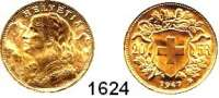 AUSLÄNDISCHE MÜNZEN,Schweiz Eidgenossenschaft 20 Franken 1947 B, Bern.  (5,8g fein).  Schön 32.  KM 35.1.  Fb. 499.  GOLD