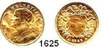 AUSLÄNDISCHE MÜNZEN,Schweiz Eidgenossenschaft 20 Franken 1949 B, Bern.  (5,8g fein).  Schön 32.  KM 35.1.  Fb. 499.  GOLD