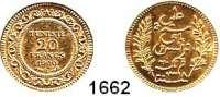 AUSLÄNDISCHE MÜNZEN,Tunesien  20 Francs 1900 A,  Paris  (5,8g fein).  Schön 141.  KM 227.  Fb. 12.  GOLD