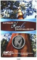 AUSLÄNDISCHE MÜNZEN,Australien Elisabeth II. seit 1952 1 Dollar 2007 (Silberunze).  Koala auf Ast.  In Coincard