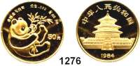 AUSLÄNDISCHE MÜNZEN,China Volksrepublik seit 1949 50 Yuan 1984.  (1/2 UNZE 15,55g fein).  Liegender Panda mit Bambuszweig.  Schön 81.  KM 90.  Fb. B 5.  Verschweißt.  GOLD