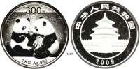 AUSLÄNDISCHE MÜNZEN,China Volksrepublik seit 1949 300 Yuan 2009.  (Silber, 1 Kilogramm).  Zwei Pandas.  Schön 1718.  KM 1871.  Im Originaletui mit Zertifikat.
