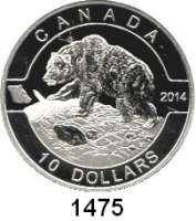 AUSLÄNDISCHE MÜNZEN,Kanada  10 Dollars 2014.  Oh Kanada - Grizzlybär.  Schön 1438.  KM 1612.  Im Originaletui mit Zertifikat.