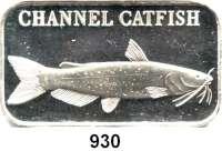 M E D A I L L E N,Tiere / Tiermotive  Silberbarren (1 Unze).  Motiv Catfish.  Verschweißt.