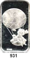 M E D A I L L E N,Tiere / Tiermotive  Silberbarren (1 Unze).  Motiv Garfield im Ballon.  Verschweißt.