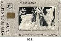 M E D A I L L E N,Tiere / Tiermotive  Silberne Plakette in Form einer Telefonkarte der DeTeMedien GmbH und Münz-Prägestatt München.  Motiv Koalas im Baum.  Im Originalrahmen mit Zertifikat.  85 x 54 mm.  34,64 g.