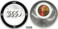 AUSLÄNDISCHE MÜNZEN,Tschechien  2000 Kronen 2000.  Bimetall (3,1 g fein).  Christliche Jahrtausendwende, Staatswappen als Kinegramm.  Schön 215.  KM 44.  GOLD  Im Originaletui .
