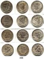 R E I C H S M Ü N Z E N,Kleinmünzen  1 Mark 1896 D, 1899 D, 1901 D, 1902 D(2), 1904 D, 1908 F, 1909 D, G, 1911 G, 1912 D und 1914 G.  LOT 12 Stück.