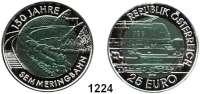AUSLÄNDISCHE MÜNZEN,E U R O  -  P R Ä G U N G E N Österreich 25 EURO 2004 (Bi-Metall Silber/Niob).  Semmeringbahn.  Schön 305.  KM 3109.  Im Originaletui mit Zertifikat.