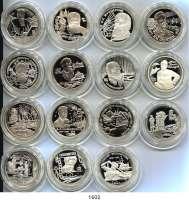 AUSLÄNDISCHE MÜNZEN,Russland Russische Föderation seit 1991 LOT von 15 verschiedenen Gedenksilbermünzen.  2 Rubel 1996(2), 1997(6), 1998(4) und 1999(3).