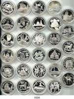 AUSLÄNDISCHE MÜNZEN,Russland Russische Föderation seit 1991 LOT von 29 verschiedenen Gedenksilbermünzen.  3 Rubel 1994(8), 1995(12) und 1996(9).