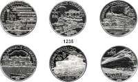 AUSLÄNDISCHE MÜNZEN,E U R O  -  P R Ä G U N G E N Österreich 20 Euro 2007(2), 2008(2) und 2009(2).  Österreichische Eisenbahn.  Schön 339, 340, 355, 356, 365, 366.  KM 3149, 3151, 3161, 3154, 3178, 3179.  SATZ 6 Münzen.  Im Originalholzetui.