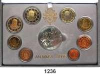 AUSLÄNDISCHE MÜNZEN,E U R O  -  P R Ä G U N G E N Vatikan Kurssatz 2006.  Cent bis 2 Euro und Silbermedaille.  KM PS 19.  Im Originaletui mit Zertifikat.