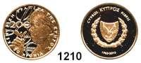 AUSLÄNDISCHE MÜNZEN,E U R O  -  P R Ä G U N G E N Griechenland 20 Euro 2013 (7,32g fein).  50 Jahre zypriotische Nationalbank.  KM 100.  Im Originaletui mit Zertifikat.  GOLD
