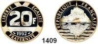 AUSLÄNDISCHE MÜNZEN,Frankreich 5. Republik seit 1958 20 Francs 1992 (Tri Metall Gold 4,5g fein).  Berg Saint Michel.  Schön 260 a.  KM 1008.2 a.  Fb. 632 b.  Im Originaletui.  GOLD